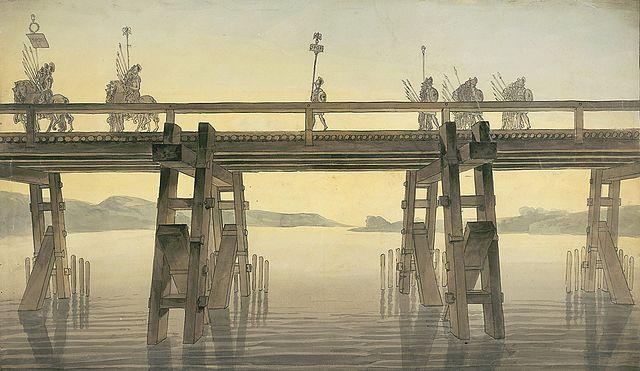 Cäsar am Rhein bei Köln. Brückenbau der Römer